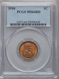 Lincoln Cents: , 1910 1C MS64 Red PCGS. PCGS Population (352/550). NGC Census:(226/490). Mintage: 146,801,216. Numismedia Wsl. Price for pr...
