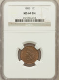 Indian Cents: , 1885 1C MS64 Brown NGC. NGC Census: (184/140). PCGS Population(64/17). Mintage: 11,765,384. Numismedia Wsl. Price for prob...