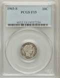 Barber Dimes: , 1903-S 10C Fine 15 PCGS. PCGS Population (12/153). NGC Census:(9/64). Mintage: 613,300. Numismedia Wsl. Price for problem ...