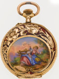 Timepieces:Pocket (post 1900), Swiss Miniature Gold & Enamel Pendant Watch. ...