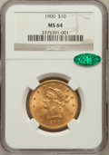 Liberty Eagles: , 1900 $10 MS64 NGC. CAC. NGC Census: (418/64). PCGS Population(189/17). Mintage: 293,960. Numismedia Wsl. Price for problem...