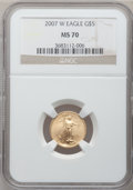 Modern Bullion Coins, 2007-W $5 Tenth-Ounce Gold Eagle MS70 NGC. NGC Census: (5511). PCGSPopulation (148). Numismedia Wsl. Price for problem fr...