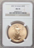 Modern Bullion Coins, 2007-W $50 One-Ounce Gold Eagle MS70 NGC. NGC Census: (1215). PCGSPopulation (202). Numismedia Wsl. Price for problem fre...