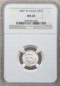 Modern Bullion Coins, 2007-W $10 Tenth-Ounce Platinum Eagle MS69 NGC. NGC Census:(59/372). PCGS Population (184/192). Numismedia Wsl. Price for...