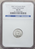 Modern Bullion Coins, 2007-W $10 Tenth-Ounce Platinum Eagle, Early Releases MS70 NGC. NGCCensus: (0). PCGS Population (272). (#150434)...