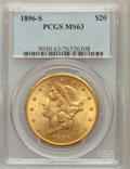 Liberty Double Eagles: , 1896-S $20 MS63 PCGS. PCGS Population (1008/154). NGC Census:(755/123). Mintage: 1,403,925. Numismedia Wsl. Price for prob...