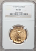 Modern Bullion Coins: , 1998 G$25 Half-Ounce Gold Eagle MS69 NGC. NGC Census: (591/15).PCGS Population (567/5). Numismedia Wsl. Price for problem...