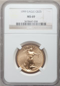 Modern Bullion Coins: , 1999 G$25 Half-Ounce Gold Eagle MS69 NGC. NGC Census: (1129/19).PCGS Population (667/3). Numismedia Wsl. Price for proble...