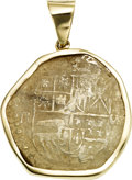 Estate Jewelry:Pendants and Lockets, Silver 8 Real Coin, 14k Gold Pendant. ...