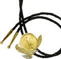 Estate Jewelry:Other , US $50 Liberty Gold Coin, Diamond, Gold, Braided Leather Bolo Tie . ...