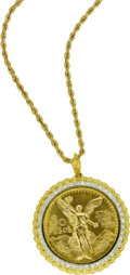 Estate Jewelry:Necklaces, 50 Pesos Gold Coin, Diamond, Gold Pendant-Necklace. ...