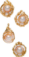Estate Jewelry:Suites, Mabé Pearl, Diamond, Gold Jewelry Suite. ...