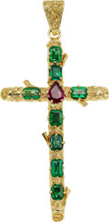 Estate Jewelry:Pendants and Lockets, Emerald, Ruby, Gold Pendant. ...