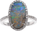 Estate Jewelry:Rings, Boulder Opal, Diamond, White Gold Ring. ...