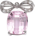 Estate Jewelry:Brooches - Pins, Kunzite, Diamond, White Gold Brooch. ...
