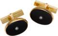 Estate Jewelry:Cufflinks, Gentleman's Black Onyx, Diamond, Gold Cuff Links, Tiffany &Co.. ...