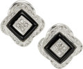 Estate Jewelry:Earrings, Diamond, Black Onyx, White Gold Earrings. ...
