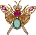 Estate Jewelry:Brooches - Pins, Emerald, Ruby, Diamond, Gold Brooch. ...