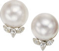 Estate Jewelry:Earrings, Mabé Pearl, Diamond, White Gold Earrings. ...