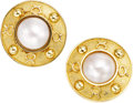 Estate Jewelry:Earrings, Mabé Pearl, Gold Earrings, English. ...
