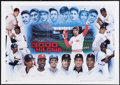 Baseball Collectibles:Others, 3000 Hit Club Multi Signed Oversized Lithograph....