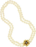 Estate Jewelry:Necklaces, Cultured Pearl, Sapphire, Gold Necklace. ...