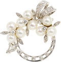 Estate Jewelry:Brooches - Pins, Cultured Pearl, Diamond, Platinum, White Gold Pendant-Brooch. ...
