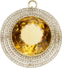 CITRINE, DIAMOND, PLATINUM-TOPPED GOLD PENDANT