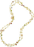Estate Jewelry:Necklaces, Multi-Stone, Cultured Pearl, Gold Necklace, Marco Bicego. ...