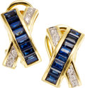 Estate Jewelry:Earrings, Sapphire, Diamond, Gold Earrings, LeVian. ...