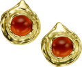 Estate Jewelry:Earrings, Carnelian, Gold Earrings, Elizabeth Gage, English. ...