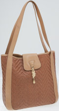 Luxury Accessories:Bags, Kieselstein Cord Tan Woven Leather Tote Bag with Gold Frog. ...