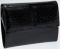 Luxury Accessories:Bags, Gucci Black Patent Leather and Crocodile Clutch with ShoulderStrap. ...