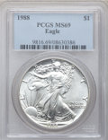 Modern Bullion Coins: , 1988 $1 Silver Eagle MS69 PCGS. PCGS Population (4586/1). NGCCensus: (78814/248). Mintage: 5,004,646. Numismedia Wsl. Pric...