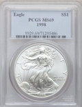 Modern Bullion Coins: , 1998 $1 Silver Eagle MS69 PCGS. PCGS Population (3155/17). NGCCensus: (83277/252). Numismedia Wsl. Price for problem free...