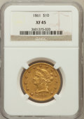 Liberty Eagles: , 1861 $10 XF45 NGC. NGC Census: (63/472). PCGS Population (83/225).Mintage: 113,100. Numismedia Wsl. Price for problem free...