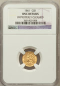 Gold Dollars, 1861 G$1 --Improperly Cleaned--NGC Details. UNC. NGC Census:(33/1047). PCGS Population (32/760). Mintage: 527,499. Numismed...