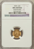 Gold Dollars, 1874 G$1 --Scratches--NGC Details. UNC. NGC Census: (66/3271). PCGSPopulation (108/2615). Mintage: 198,820. Numismedia Wsl....