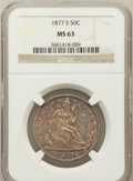 Seated Half Dollars: , 1877-S 50C MS63 NGC. NGC Census: (76/135). PCGS Population(79/116). Mintage: 5,356,000. Numismedia Wsl. Price for problem ...