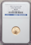 Modern Bullion Coins, 2007-W $5 Tenth-Ounce Gold Eagle Early Releases MS69 NGC. NGCCensus: (2751/5511). PCGS Population (245/148). Numismedia W...