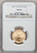 Modern Bullion Coins, 2007-W $10 Quarter-Ounce Gold Eagle MS69 NGC. NGC Census:(1162/2549). PCGS Population (978/563). Numismedia Wsl. Price fo...
