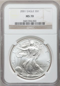 Modern Bullion Coins: , 2001 $1 Silver Eagle MS70 NGC. NGC Census: (449). PCGS Population(23). Numismedia Wsl. Price for problem free NGC/PCGS co...