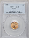 Modern Bullion Coins: , 1995 G$5 Tenth-Ounce Gold Eagle MS69 PCGS. PCGS Population (824/9).NGC Census: (1447/151). Mintage: 223,025. Numismedia Ws...