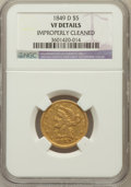 Liberty Half Eagles: , 1844-D $5 -- Improperly Cleaned -- NGC Details. VF. NGC Census:(1/193). PCGS Population (10/196). Mintage: 88,900. Numisme...