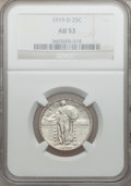 Standing Liberty Quarters: , 1919-D 25C AU53 NGC. NGC Census: (9/203). PCGS Population (13/330).Mintage: 1,944,000. Numismedia Wsl. Price for problem f...