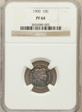 Proof Barber Dimes: , 1900 10C PR64 NGC. NGC Census: (57/78). PCGS Population (47/57).Mintage: 912. Numismedia Wsl. Price for problem free NGC/P...
