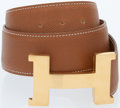 Luxury Accessories:Accessories, Hermes Gold Epsom Leather Constance H Belt with Gold Hardware. ...