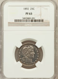 Proof Barber Quarters: , 1892 25C PR63 NGC. NGC Census: (38/198). PCGS Population (57/155). Mintage: 1,245. Numismedia Wsl. Price for problem free N...