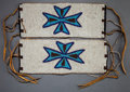 American Indian Art:Beadwork and Quillwork, A PAIR OF BLACKFEET BEADED CANVAS ARM BANDS . ...