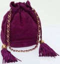 Luxury Accessories:Accessories, Chanel Fuchsia Suede Quilted Drawstring Bucket Bag with GoldHardware. ...